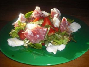 Stawberry Salad with Serrano & Mozzerella Cheese