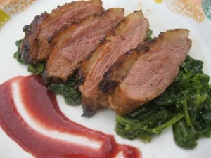 BARBARY DUCK BREAST WITH FRESH CHERRY SAUCE